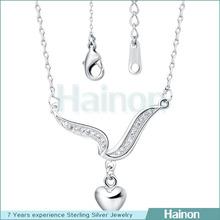 platinum and gold color women necklace heart charm drop on pendant necklace