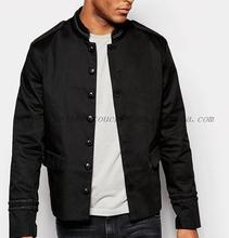 OEM china winter black button down trim band jacket