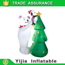 New Christmas Inflatable 5' Airblown Polar Bear with Penguin & Christmas Tree