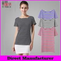 YBT6001# Free shipping! women hight qualtiy 100% cotton t- shirt striped short Sleeve plain round neck crop tops wholesale