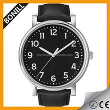 men's classic genuine leather band stainless steel back analog Quartz Watch