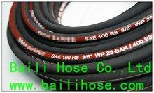 single fibre braid,rubber covered hydraulic hoses R6 from hengshui baili hose company
