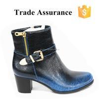 blue jeans high heel women boots