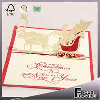Christmas santa ride card 3D laser cut pop up handmade card paper handmade custom postcards party supplies gift for lover