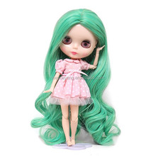 new arrival long green wavy doll wig with heat resistant fiber