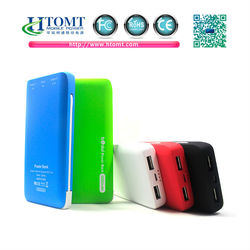 Dual USB port mobile power bank built in cable with 5000mAh capacity