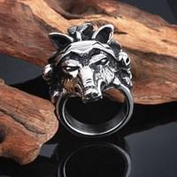 Guangzhou wholesale individual fashion animal wolf head ring