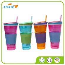 Travel Cup Snack drink In One Container Lid Straw Kids Snack Cup
