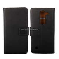 Black Smooth Genuine Flip Leather Case For Lg Spirit Cell Phone