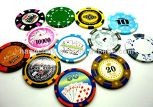 High quality 2013 custom new abs/clay stiker Poker money chips with logos