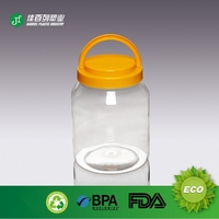 yellow screw lid pet transparent jar empty jar cheap price plastic jam jars