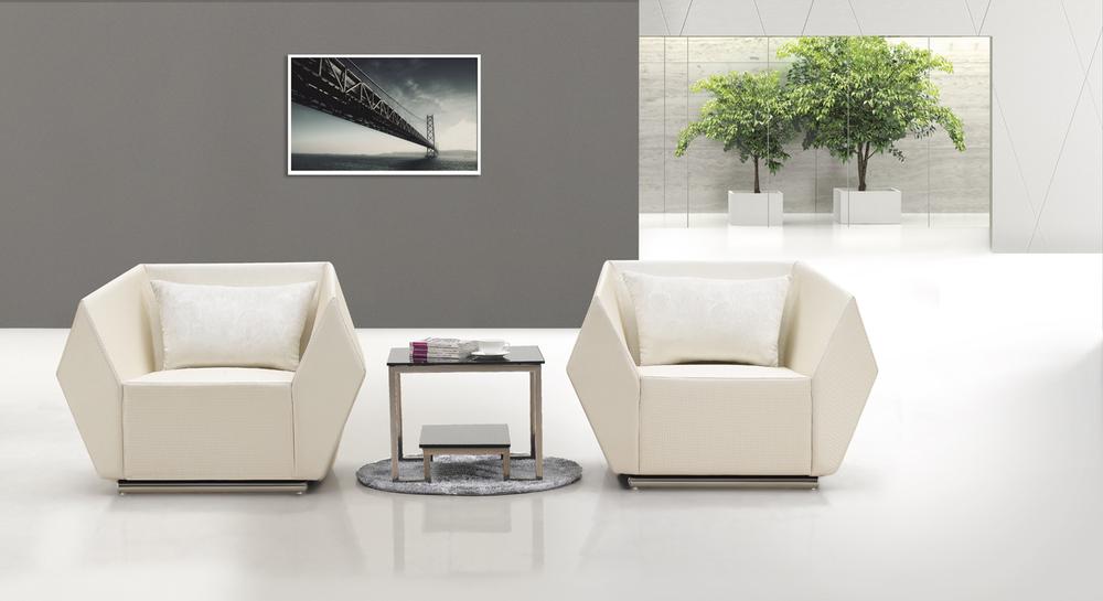 현대적인 사무실 리셉션 소파, 검은 색 예술 진짜 가죽 소파 세트 ...