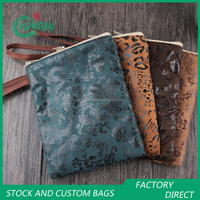 Suede Mobile Phoone Bags Hot Stamping Pouches With Zipper Top Handle