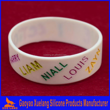 custom logo silicone hand band debossed ink filled, wide silicone wristband