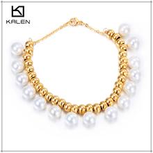 Kalen stainless steel gold pearl handmade bracelet jewelry kits design for girls
