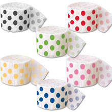 Polka dots Crepe Paper Streamer 81 foot x 1.75 inch Party Supply Birthday Shower Decor