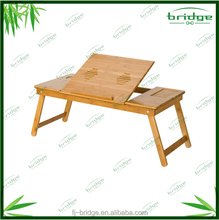 Adjustable bamboo folded laptop bed table