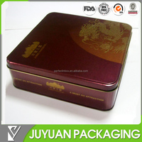 Classic large square metal moon cake tin novelty storage box with custom printing or embossing