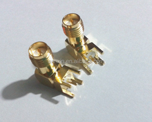 Gold SMA female right angle solder PCB mount RF connector Adapter