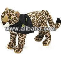 Stuffed plush leopard,monkey,elepahant,alligator,cow,bobcat,moose,beaver,dog,black bear,zebra,penguin,tiger,with t-shirt,bib,rib
