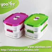Two layer(2.3Lx2)Square shape Airtight Food Storage Box with 4 sides lock