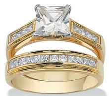 14k Yellow Gold plated Wedding Band Set Princess Cut 3A silver ring