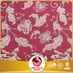 jacquard sofa fabric red leavf pattern chair cover fabric