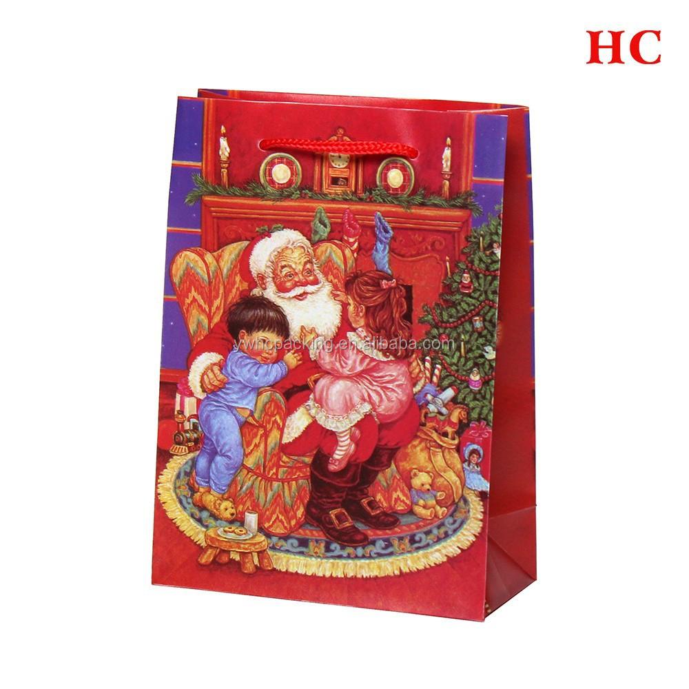 Christmas bags for gift packing pp plastic custom