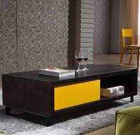 Modern Black Grit Metal Coffee Table Legs With Solid Wood Drawer Wooden Coffee Table