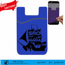 Color customized smart wallet silicon card holder for hand phone