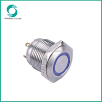 16mm ip65 momentary 1no stainless steel high quality ring illuminated led push button light switch