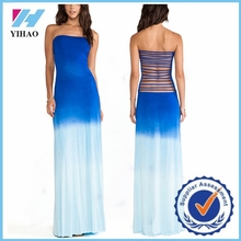 Bulk women clothing fashion dip dye dress gradual change color and back bandage long dress