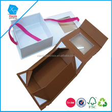 PVC lid homemade space saving Dongguan printing house folding paper box with magnet and ribbon