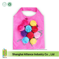 Wholesale custom logo foldable 190T polyester rose shape shopping bag