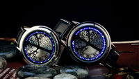hot sell Trendy Blue LED Touch Screen Digital Round Dial Black leather Men Watch Unique