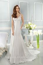 blanco elegante de espalda cortado lacewedding cuello y vestido de noche profunda v