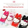 Factory Wholesale 2015 Newest 3D Cute Lovely Cartoon Hello Kitty Soft Rubber Silicone diamond Case Cover For iphone 6 6G iphone6