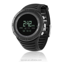 cool all black big dial digital watch outdoor sport watch for camping/hiking/travelling