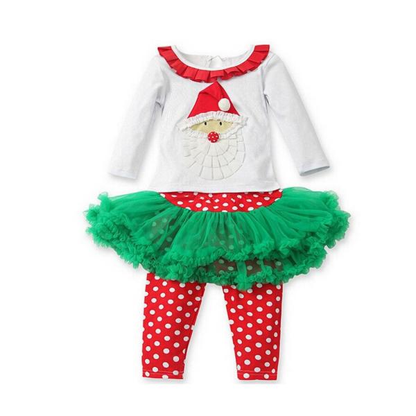 Wholesale christmas tutu dress kids holiday clothing set baby girls