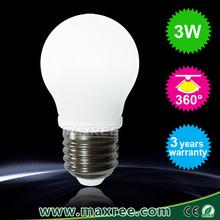 Factory Price Energy Saving 360 Degree Ceramics 3 watt led bulb, E27 led globe light bulbs