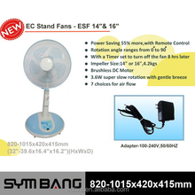 16 inch dc stand fans that blow cold air 6 speeds With Remote Control (ESF16)
