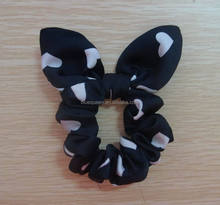 cute magnetic flower printed scrunchie with rabbit ears
