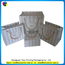 Custom Paper Shopping Red White Blue Stripe Bag