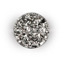 Titanium silver round rough druzy cabochon natural stone loose gemstone