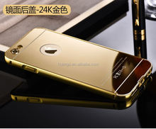 Low price china mobile phone Mirror Style Back+electroplate bumper metal case for iphone 6 back cover china price