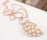 2015 Diamond pearl peacock long necklace