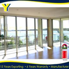 Australia standard aluminum profile stacking sliding six panel glass door