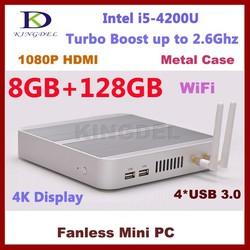 2015 Latest Cheap Fanless Mini PC Desktop i5 4200U Dual Core CPU 8GB RAM 128GB SSD Mini itx Aluminum Case