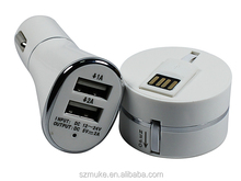 5V 2A Dual USB car charger with round box 3 in 1 cable