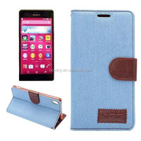 Jeans Wallet leather case for Sony Xperia Z4